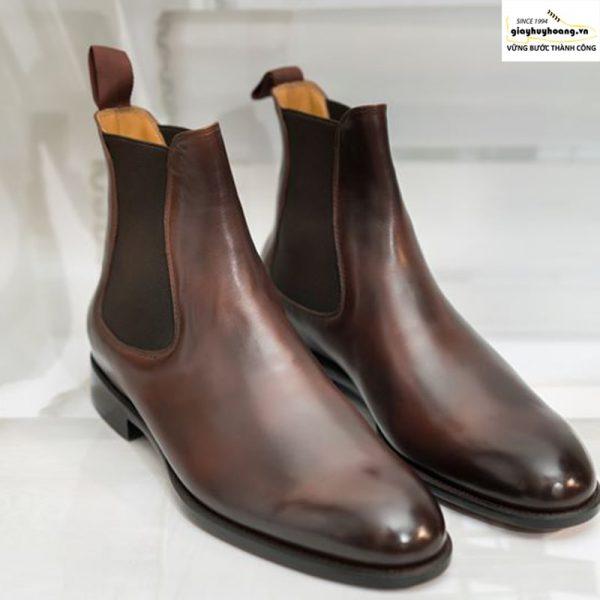 Giày tây da bò nam cổ cao chelsea boot vyhofoco vh63 cao cấp 001