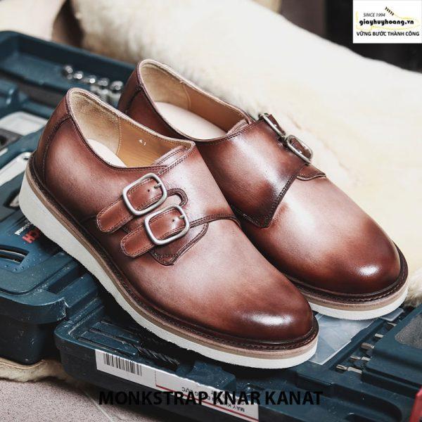 Bán giày tây nam da bò sneaker đẹp monkstrap knar kanat nâu trắng 003