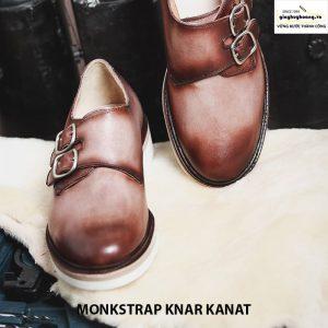 Bán giày tây nam da bò sneaker đẹp monkstrap knar kanat nâu trắng 002