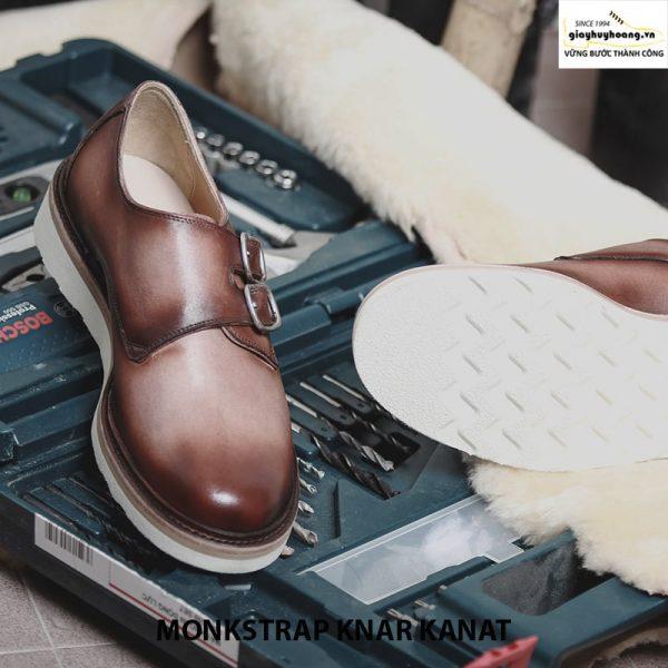Bán giày tây nam da bò sneaker đẹp monkstrap knar kanat nâu trắng 001