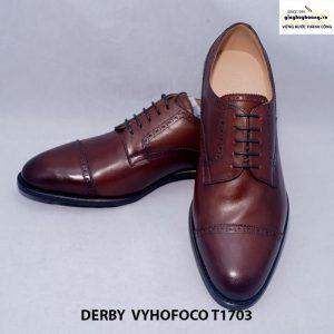 Giày nam da bò màu nâu Derby vyhofoco T1703 cao cấp chính hãng 006