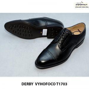 Giày tây nam da bò Derby vyhofoco T1703 cao cấp chính hãng màu đen 004