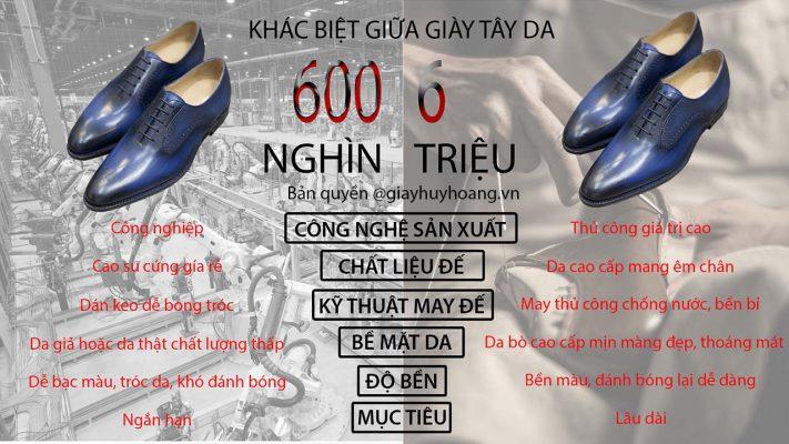 Sự khác nhau giữa giày tây da nam 600 nghìn và 6 triệu đồng Việt Nam