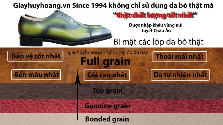 phân biệt giày da bò thật top grain full grain geniune grain giayhuyhoangvn