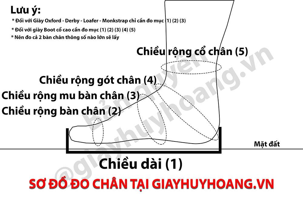 Sơ đồ bảng đo bàn chân giày tây thủ công giayhuyhoang.vn