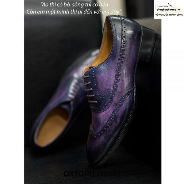 Giày tây nam Oxford Wingtip O2037 Tím khói 004