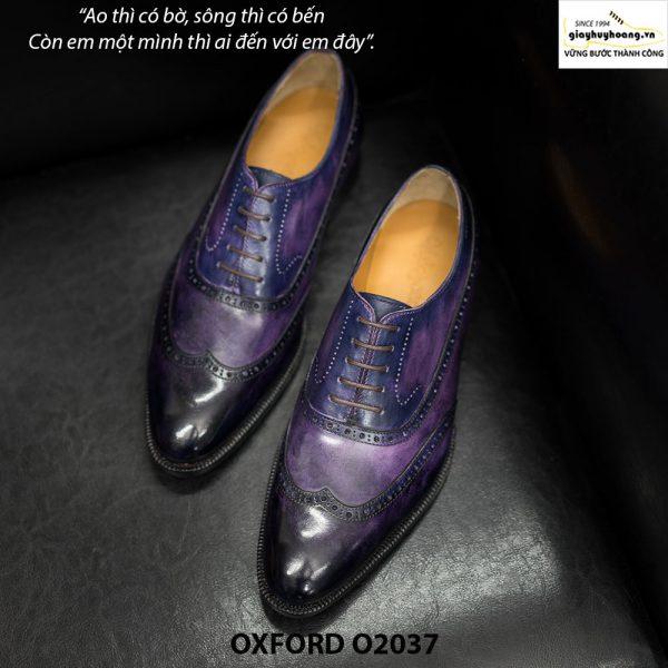 Giày tây nam Oxford Wingtip O2037 Tím khói 001