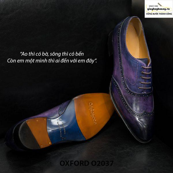 Giày tây nam Oxford Wingtip O2037 Tím khói 003