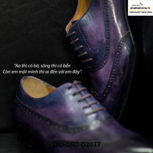 Giày tây nam Oxford Wingtip O2037 Tím khói 002