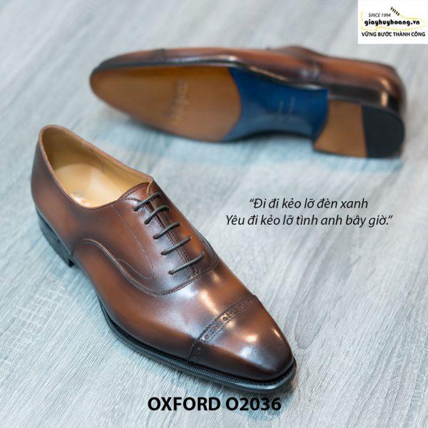 Giày Oxford Captoe Brogues đế da O2036 004