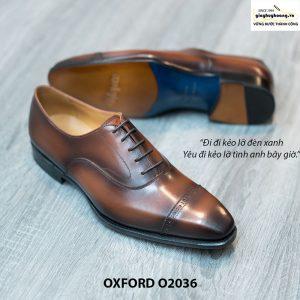 Giày Oxford Captoe Brogues đế da O2036 003
