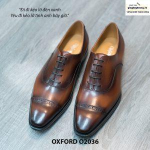 Giày Oxford Captoe Brogues đế da O2036 001