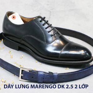 Dây thắt lưng nam đầu kim da bò 2 lớp Marengo 004