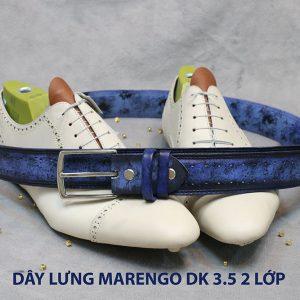 Dây thắt lưng nam đầu kim da bò 2 lớp Marengo 0011