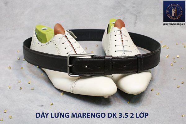 Dây thắt lưng nam đầu kim da bò 2 lớp Marengo 005