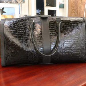 Túi xách đi du lịch da bò vân cá sấu nam CNES TX004 001
