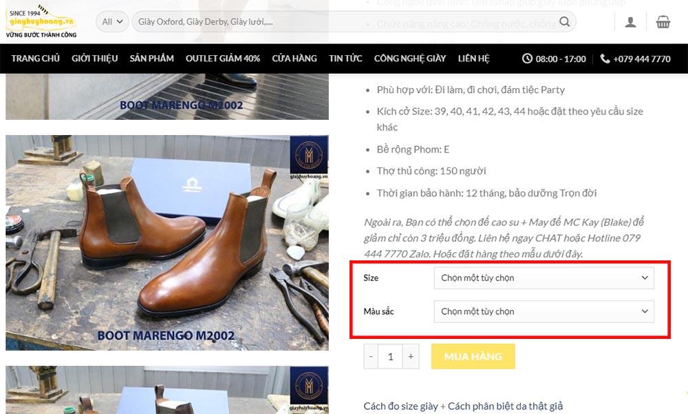 Hướng dẫn đặt hàng online trên Website giayhuyhoang.vn trên máy tính bước 1