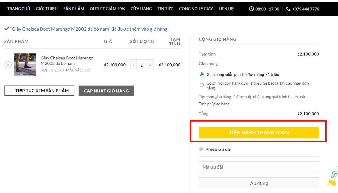 Hướng dẫn đặt hàng online trên Website giayhuyhoang.vn trên máy tính bước 3