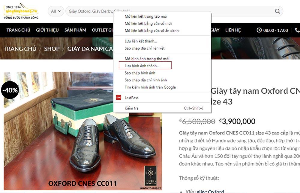 Tính năng tải ảnh trên Website giayhuyhoangvn trên máy tính