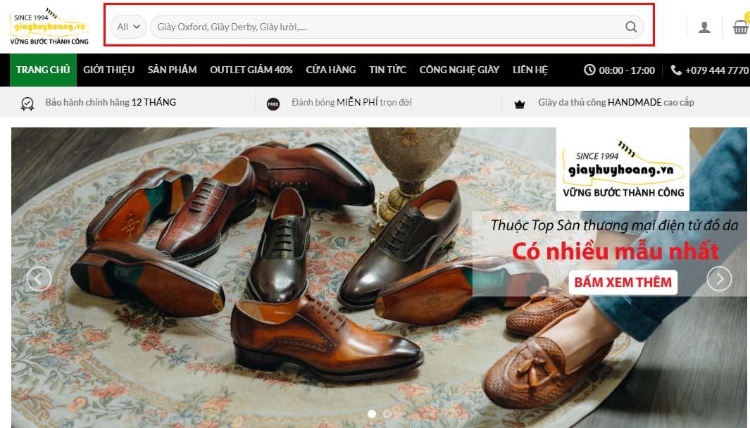 thanh tìm kiếm sản phẩm trên Website giayhuyhoang.vn
