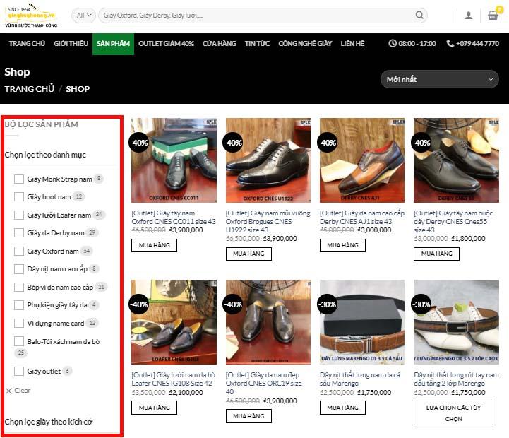 Truy cập thanh menu Website giayhuyhoangvn bước 2