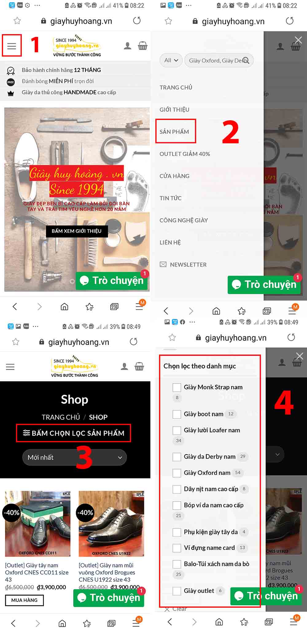 Truy cập danh mục sản phẩm trên điện thoại giayhuyhoangvn