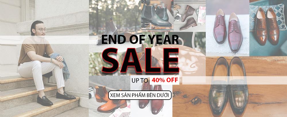 Banner giảm giá giày tây sale end year tại giayhuyhoangvn