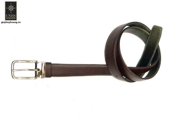 Dây nịt thắt lưng nam đầu kim da bò 2 lớp CNES 041