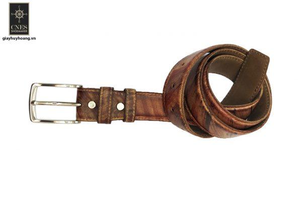 Dây nịt thắt lưng nam đầu kim da bò 2 lớp CNES 033