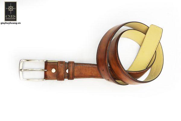 Dây nịt thắt lưng nam đầu kim da bò 2 lớp CNES 027