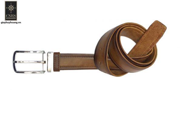 Dây nịt thắt lưng nam đầu kim da bò 2 lớp CNES 023