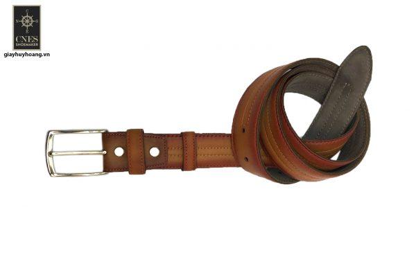 Dây nịt thắt lưng nam đầu kim da bò 2 lớp CNES 004