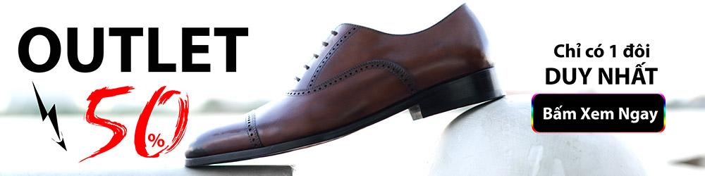 banner giới thiệu giày da nam outlet giảm 50%