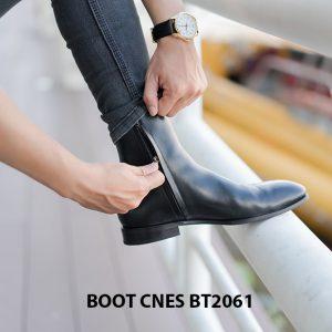 Giày da Boot nam đen bóng CNES BT2061 003