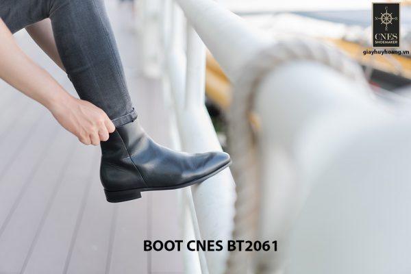Giày da Boot nam đen bóng CNES BT2061 002