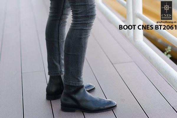 Giày da Boot nam đen bóng CNES BT2061 001