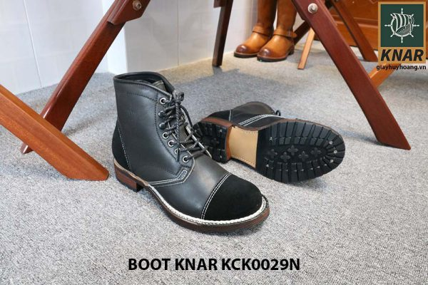 [Outlet size 42] Giày da Boot buộc dây Knar KCK0029N 003