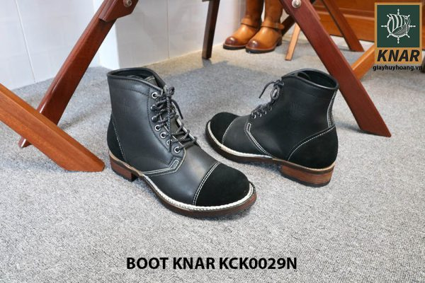 [Outlet size 42] Giày da Boot buộc dây Knar KCK0029N 002