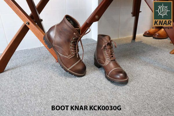 [Outlet size 42] Giày Boot cổ cao buộc dây Knar KCK0030G 005