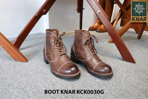 [Outlet size 42] Giày Boot cổ cao buộc dây Knar KCK0030G 001