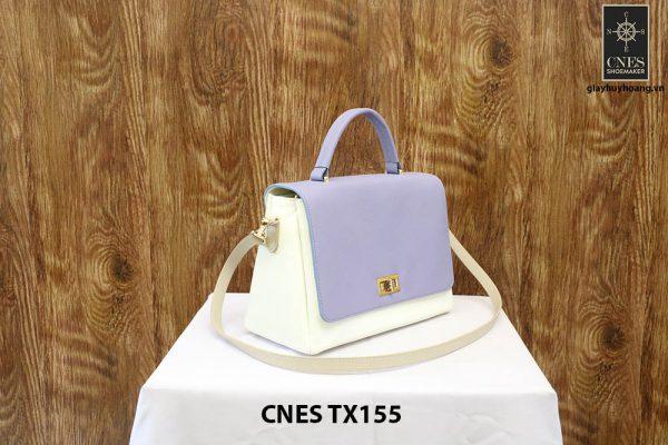 Túi xách da bê nữ màu kem CNES TX155 002