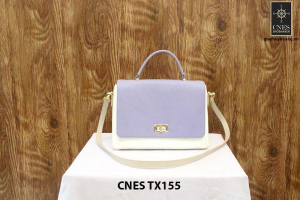 Túi xách da bê nữ màu kem CNES TX155 001