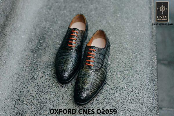Giày tây nam da bò vân cá sấu Oxford CNES O2059 001
