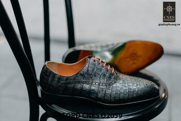 Giày tây nam da bò vân cá sấu Oxford CNES O2059 003