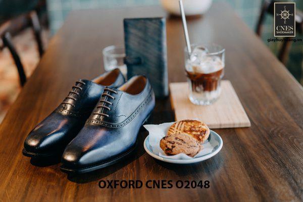 Giày da nam màu xanh đại dương Oxford CNES O2048 002
