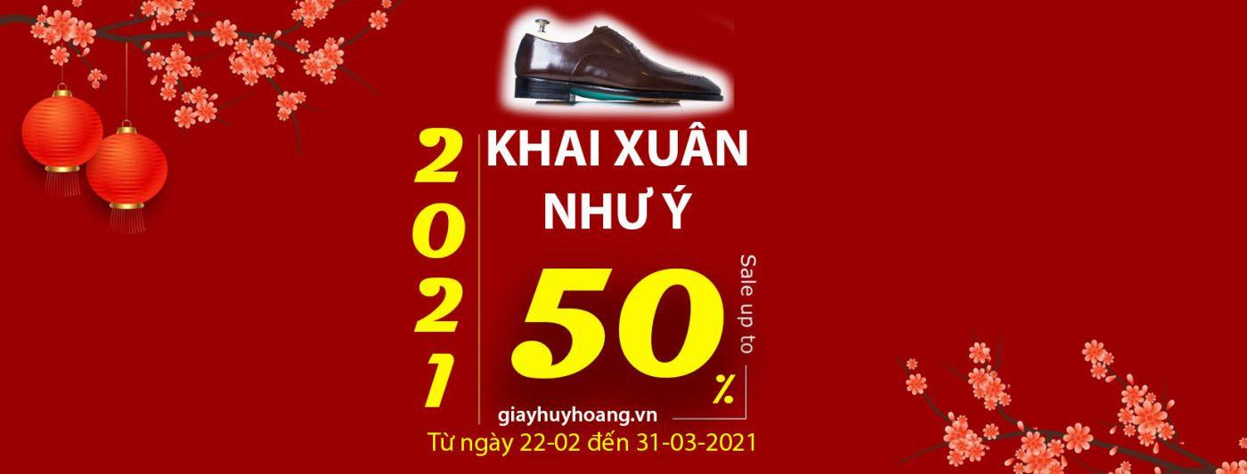 Banner khai xuân giảm giá tới 50% khi mua giày tây handmade oxford derby boot và bóp ví dây lưng huy hoàng