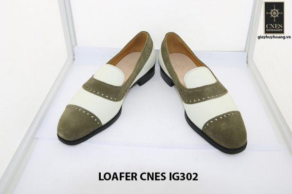 [Outlet Size 41] Giày lười nam da lộn xanh rêu Loafer Cnes IG302 002