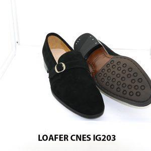 [Outlet Size 41] Giày lười nam da lộn màu đen Loafer Cnes IG203 003