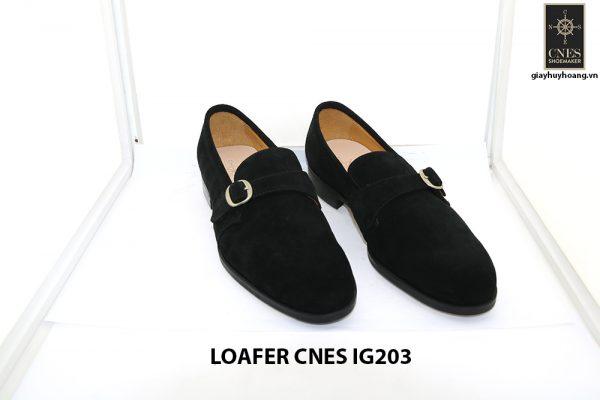 [Outlet Size 41] Giày lười nam da lộn màu đen Loafer Cnes IG203 001