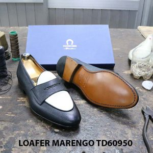 [Outlet Size 46] Giày lười nam đen trắng Marengo TD60950 003